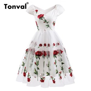 Tonval Rose Flower Embroidery V -cut Elegant Dress Mesh Overlay Floral White Dress Women Vintage Style Party Dress Y19071001
