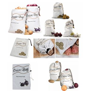 البطاطس والبصل المطبخ تخزين حقيبة تخزين الخضار حقيبة قماش تخزين المواد الغذائية منظم جيب الحقيبة سستة أكياس drwastring FFA4172