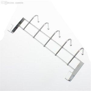 A Wholesale-5 Hooks Stainless Steel Over Door Home Bathroom Kitchen Coat Towel Loop Hanger Rack Holder Shelf High-Grade