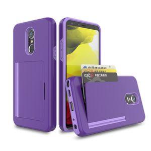 caso Armadura híbrido para LG stylo caso 5 MetroPCS TPU + PC Luxo corrediça Cartão de Crédito Para LG K40 STYLO 4 Card Case multifuncional telefone