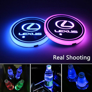2pcs LED Car Cup Holder Lights for Lexus, 7 Colors Changing USB Charging Mat Luminescent Cup Pad, LED Interior Atmosphere Lamp