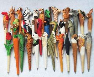 100pcs Animal Wooden carving creative ballpoint pen wood Ball point pens handmade sculpture ball-point kindergarten Rewards Gifts Pen