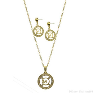 Hollow M Letter Pendant Necklaces Earrings Jewelry Set Fashion Brand Zircon Round Statement Necklace Dangle Earring Christmas Halloween Gift