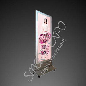 80*150cm Store Floor Stand Double Poster Display Stand Moving Light Box Board with Base Wheels Wooden Case Packing