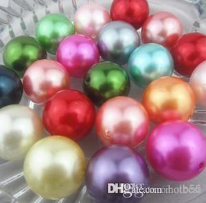 Nuevo 100 unids / lote color mezclado al azar 20 mm perlas de imitación grano suelto perlas de acrílico DIY Resina Hot Spacer para joyería h25652 x82