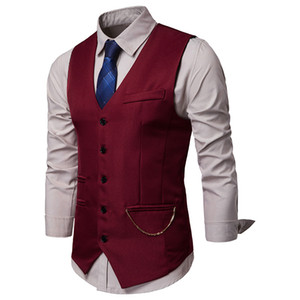Mens Wine Red Single Breasted Suit Vest 2019 Fashion Chain Design Sleeveless Waistcoat Vest Men Party Wedding Prom Dress Vests