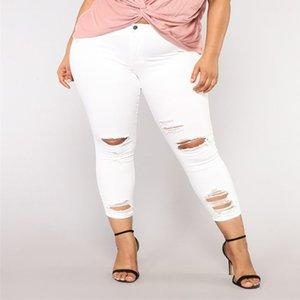 Kot tipo elástico de las mujeres más el tamaño de bolsillo del dril botón casual Boot Cut Jeans Pant ocasional del verano de los pantalones del agujero del dril de mujer femenina