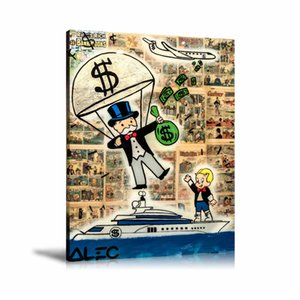 Alec Monopoly Money Parachute,HD Canvas Printing New Home Decoration Art Painting (Unframed Framed)