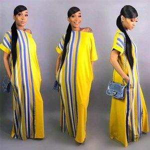 أزياء الموضة العارضة الأنوثة الصيفية Desinger New Maxi Dresses 2020 Short Sleeve One Stripped Clothes Female