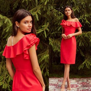 Red Ruffles Evening Dresses One Shoulder Tiered Satin Prom Dress Knee Length Plus Size A Line Special Occasion Gowns