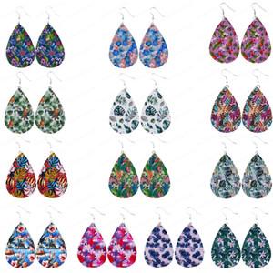 Léger Faux Rainforest Boucles d'oreilles en cuir pour les femmes à la main d'été Fleur Goutte Teardrop Dangle Boucles d'oreilles