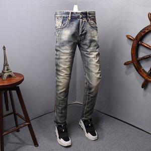 Jeans maschili stile italiano moda uomo slim fit elastico classico denim pantaloni designer retrò colore di base vintage