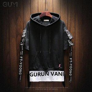 Guyi preto com capuz Falso Two Pieces Hoodies Men manga comprida com cordão Carta pulôver branco Moda Off Esporte Hip Hop Streetwear T200116