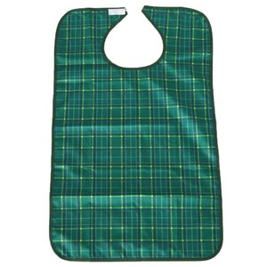 Waterproof Adult Bib Protector Disability Aid Clothes Apron Washable with Pocket Grid Style