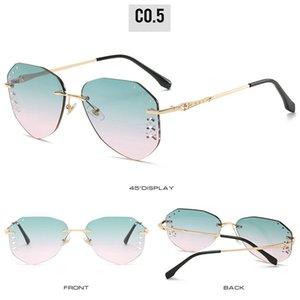 Aviator Diamond Gradient frameless sunglasses Sunglasses Women Rimless Cat Eye Diamond shaped Frameless Clear Colored Lens Sun Glasses XZ2CN