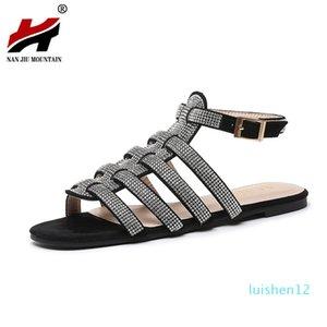 NAN JIU MOUNTAIN Summer Roman Sandals Women Flat Sandals Handmade Rhinestones High Quality Open Toe Women's Shoes Plus Size l12