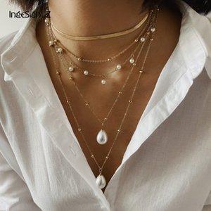 Bohemian Multi Layer Imitation Pearl Tassel Choker Necklace Collar Statement Pendant Necklace for Women Jewelry