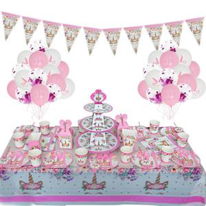 Einhorn-Geburtstags-Kits Unicorn-Party Paper Cup Platte Banner Sets für Kindergeburtstagsfeier-Dekoration Mädchen Unicornio Jahrestag