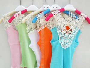 Wholesale - -summer children clothes Girls Vest Baby Vest Girl T-shirt T-short Back Hollow-carved Lace Pink Blue White Tops Lace vest BY0952