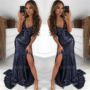 Sparkle Navy Blue Pailletten Prom Dresses Sexy Meerjungfrau V-Ausschnitt Split Abendkleider bodenlangen Vestidos Günstige BC2005 BM0945