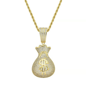 Geldbeutel-Anhängerhalsketten für Männer Hip-Hop-Luxus-Designer-bling Diamant-Dollar-Anhänger gefror heraus 18k vergoldete Halskette Schmuck Geschenk