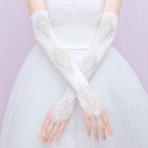 Guanti senza dita lungo da sposa in pizzo raso gomito lunghezza da sposa accessori Donne partito formale guanti lunghi guantes da sposa