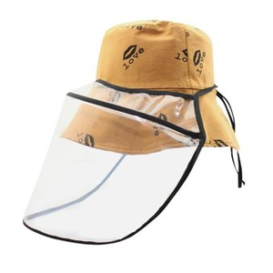 Adults Outdoor Protective Caps Cycling Anti-splash Unisex Letter Print Anti-spitting Hat Transparent Dustproof Cover Bucket Hat