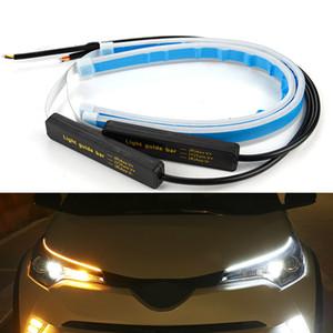 LED Gündüz Işıklar 2x Ultrafine Otomobil DRL Beyaz Far Montaj Drop Shipping için Sinyal Sarı Kılavuzu Strip çevirin Running
