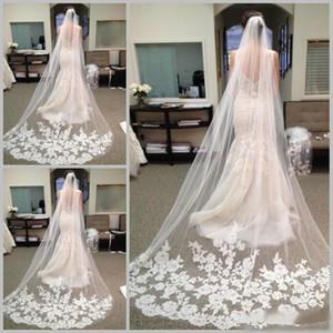 Véus longos de luxo para noiva 2020 barato acessórios de cabelo nupcial capela lace applique tulle casamento véu