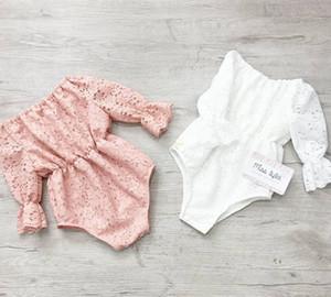 2020 bambino Horn i pagliaccetti del manicotto del merletto arrampicata vestito uncinetto un pezzo tute Vuoto-fuori rosa bianco di pizzo pieno
