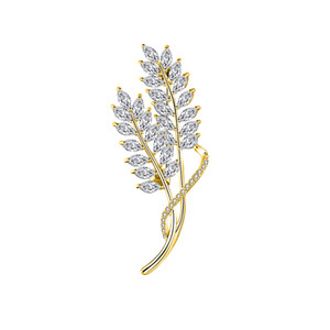 Broche de cobre Broche de oro Temporada de cosecha de trigo Zircón de cobre Broche de rama de olivo Pin Joyería del partido Adornar Regalo de alta calidad