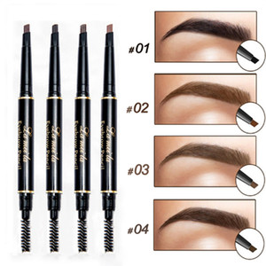 Natural Long Lasting Paint Eyebrow Pencil with Brow Brush Waterproof Black Brown Automatic  Cosmetic Tool