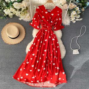 SINGRAIN Donne lungo Stampa Summer Dress vacanze Francese Coreano Romantiche Spiaggia Dress maniche corte Clubwear Bohemian floreale