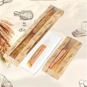 Kraft Paper Bread Clear Window Food Oilproof Package Cake Bag Party Baking Takeaway Food Bag yq00836