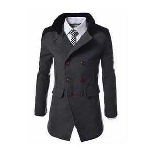 2019 Novo Estilo Inglês Jackets For Men Outono Inverno Mandarim lã Collar Mistura Brasão Abotoamento Grosso Overcoats