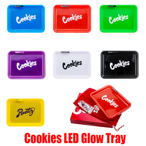 LED Glow Tray Rechargeable Cookies SF California Runtz Skittles Alien Labs Featured Dry Herb Rolling Tobacco Storage Holder In Stock