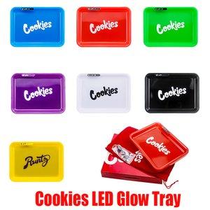 LED Glow Tepsi Şarj Edilebilir Çerezler SF Kaliforniya Runtz Skittles Alien Laboratuvarları Sunulan Kuru Herb Haddeleme Tütün Depolama Tutucu Stokta