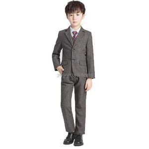 Flower Boys Wedding Tuxedo Suit Children Formal Blazer Vest pants Tie 4Pcs Clothing Set Kids Performance Party Dress Costume
