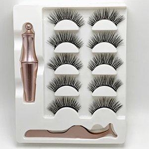 3D Magnetic Liquid Eyeliner 5 Pairs 1 Box Magnetic False Mink Eyelashes Long Lasting Eyeliner False Eyelashes Eye Extension No Glue Needed