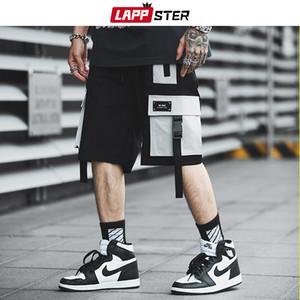 LAPPSTER Hommes Streetwear Color Block Cargo Shorts 2019 Summer Hip Hop Shorts hommes Joggers Polyester Sweatshorts kaki Ceinture