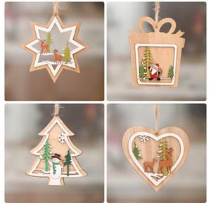 Décorations de Noël Arbre de Noël en bois sculpté Fenêtre Ornements Pendentif de Noël pour Cloche de flocon de neige Bonhomme de neige Elk XD21608