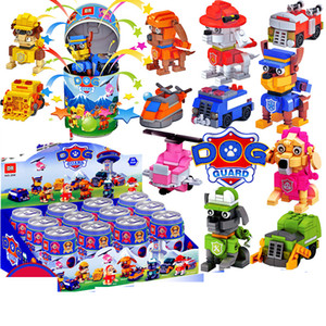 12 small boxes of assembled building blocks puppy team deformation car cola cans toy combination children early education toys gifts puzzle