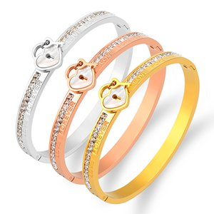 Forever Love Heart Lock Bracelet with Stones Stainless Steel Jewelry Gold Bangle for Woman Screw Bracelets Wedding Party Gift