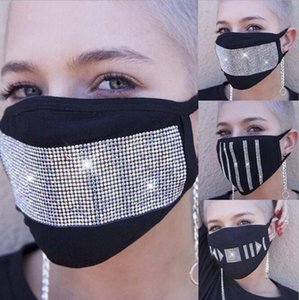 Star Flash Diamond Rhinestone Cotton Mask Ventilation Sunscreen Dustproof Drill Mask Washable Ear Hangers Designer Masks HA939
