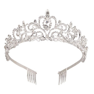 Corona di cristallo argento Tiara Corona principessa Elegante corona con pettini per le donne Ragazze da sposa Prom festa di compleanno