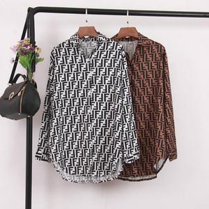 Женщины лето рубашка отворот шеи с длинными рукавами старинные рубашки топы популярные решетки F Письмо печати блузка повседневная женская одежда