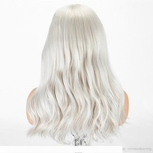Platinum Blonde Long Wavy Synthetic Lace Front Wigs For Women Heat Resistant Fiber Hair Middle Part Halloween Cosplay Wigs
