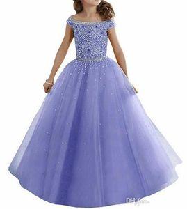 2019 Lovely Lavender Water Melon Girls Pageant Vestidos Hombros Cristales Con cuentas Corsé Volver Flower Girl Dresses Niños Ropa formal