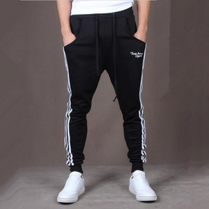 2019 New Mens Fitness Trousers Three Side Bar Spring Time Slim Fit jogging Casual Style Outdoor Training Pants
