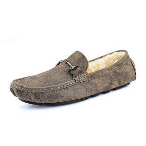 Мужские повседневные кожаные Горох Обувь Мужской Кожа мягкая Bottom Plush Korean Lofers Повседневный Flats Новый Подиум Мужская обувь% 2030-1